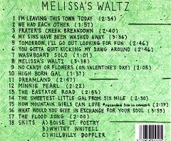 Melissa's Waltz CD Back Cover